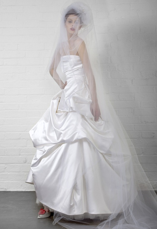 Vivienne Westwood Capon Dress: White Duchess Satin with Tulle petticoat