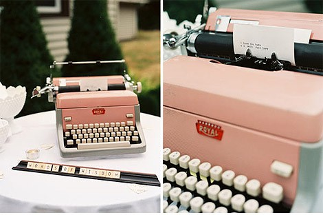 Typewriter wedding guest book
