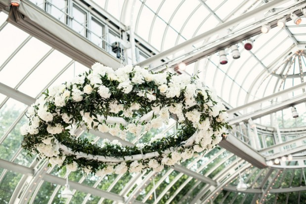 Jewish Greek Wedding at Brooklyn Botanical Garden New York flower chandalier